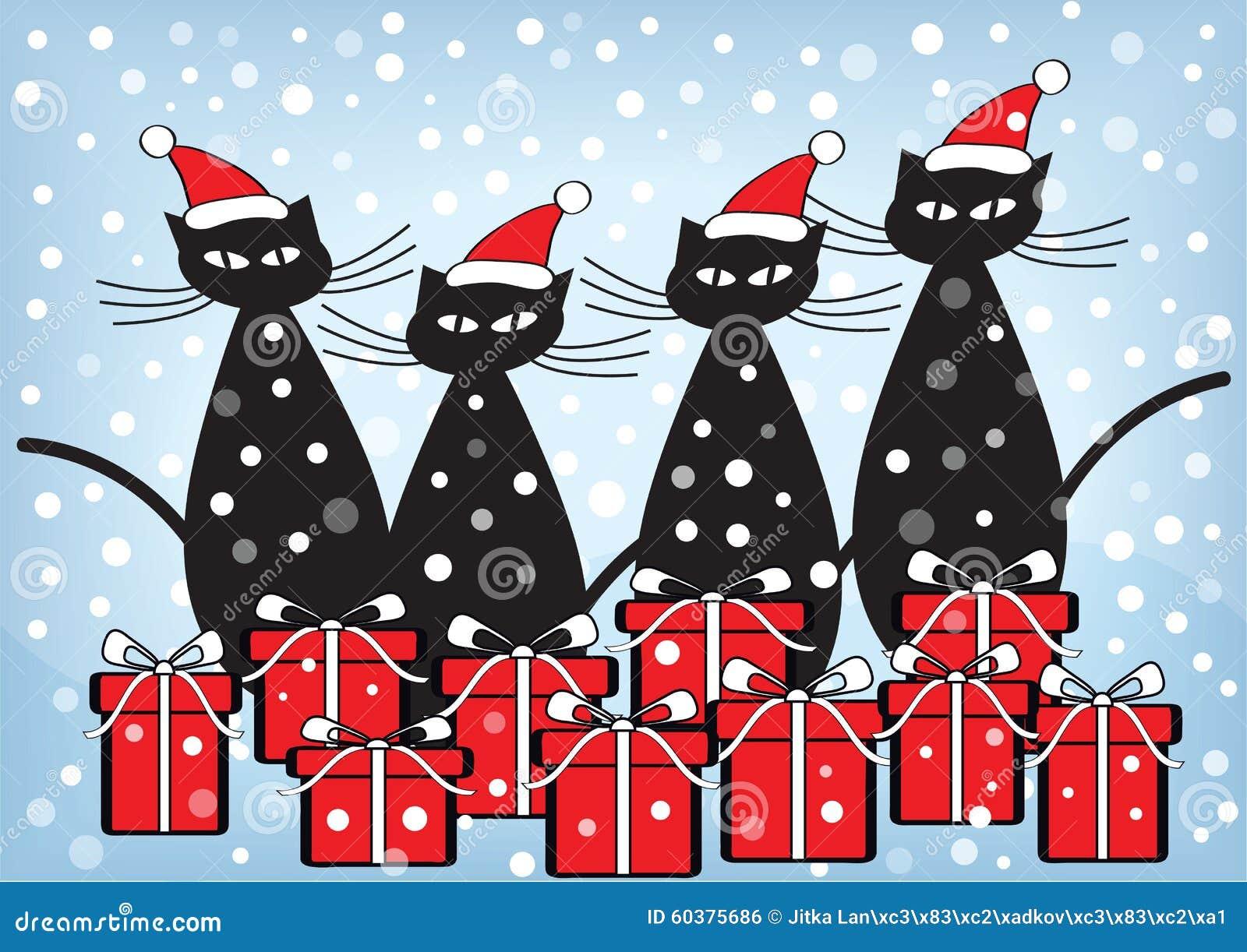 Cartolina Di Natale Con I Gatti Ed I Presente Illustrazione Di Stock