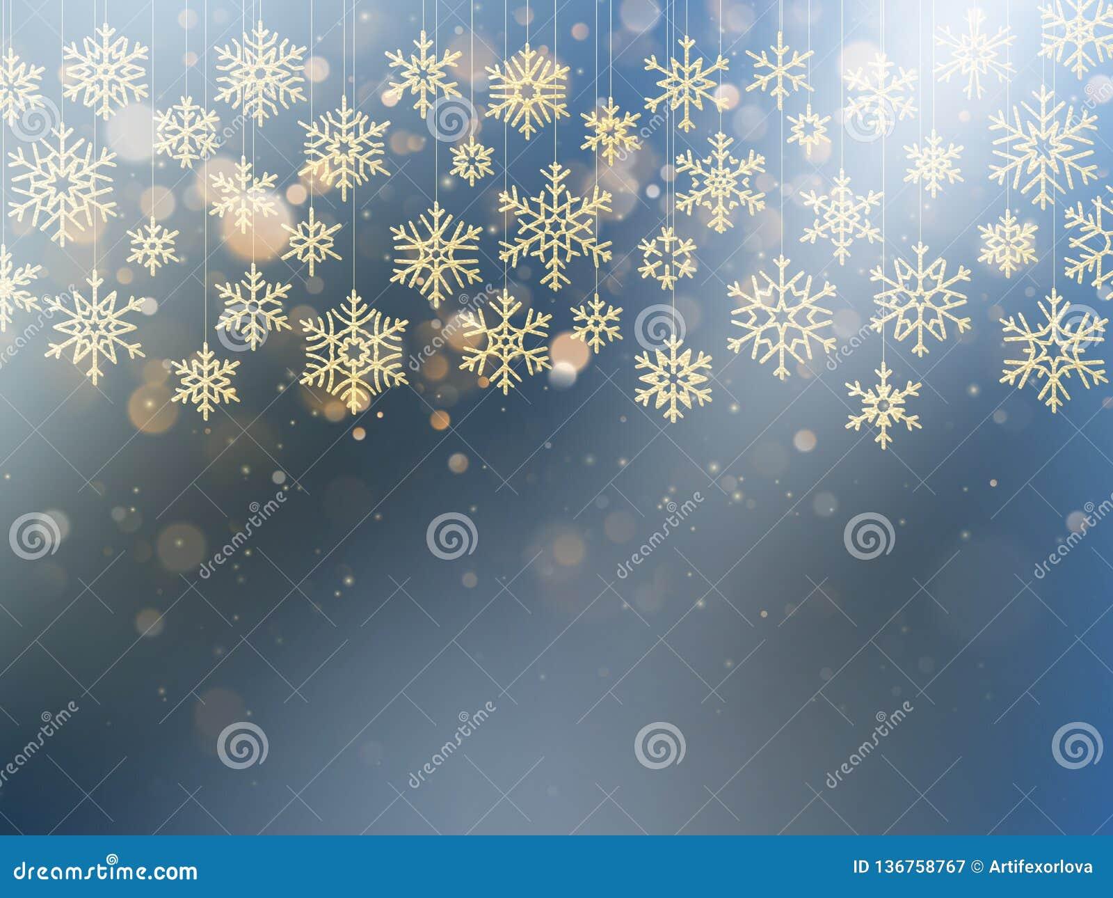 Cartolina di Natale con il fiocco sventato della neve dell oro Decorazione dorata sul fondo blu-chiaro di inverno ENV 10