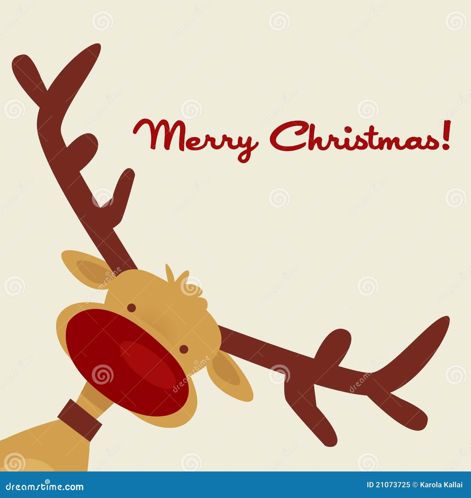 Immagini Natale Renne.Cartolina Di Natale Con La Renna Illustrazione Vettoriale
