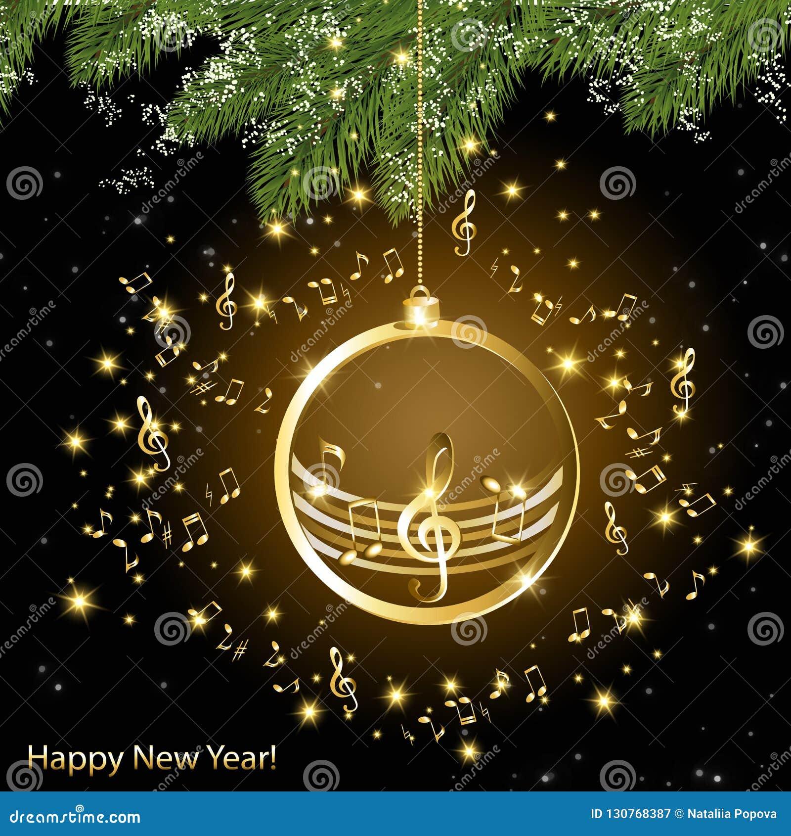 Cartolina di Natale con le note musicali dorate su un ramo dell abete rosso