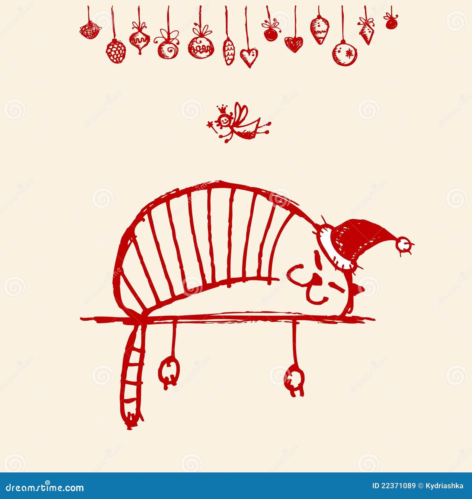 Cartolina di Natale, gatto divertente della Santa per il vostro disegno