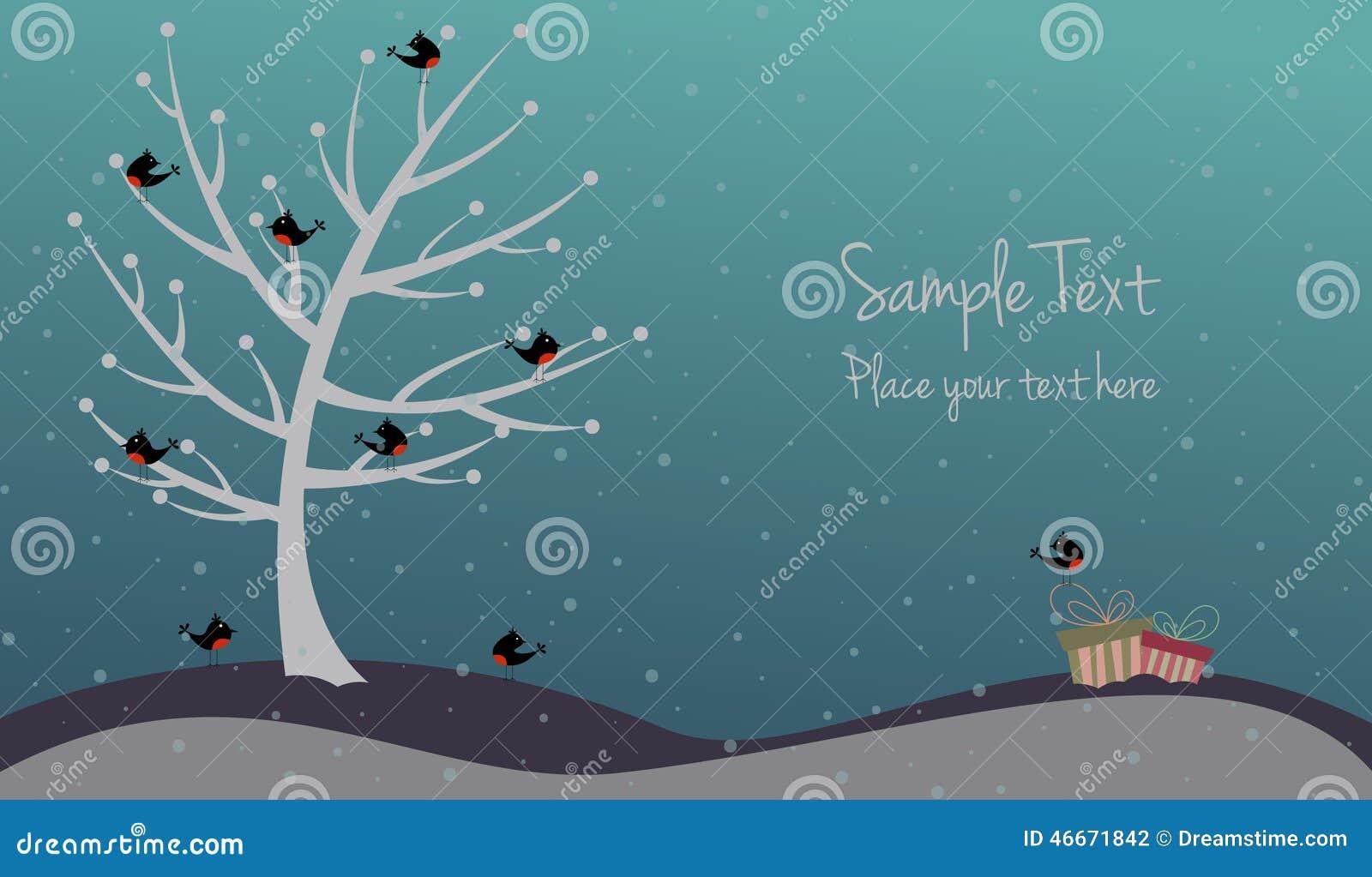 Cartolina di Natale sveglia con gli uccelli ed i presente