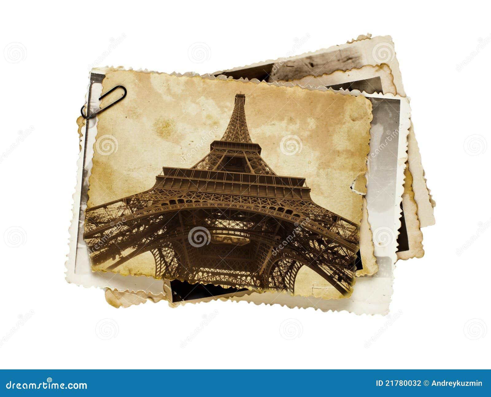 Cartolina di seppia dell annata della Torre Eiffel