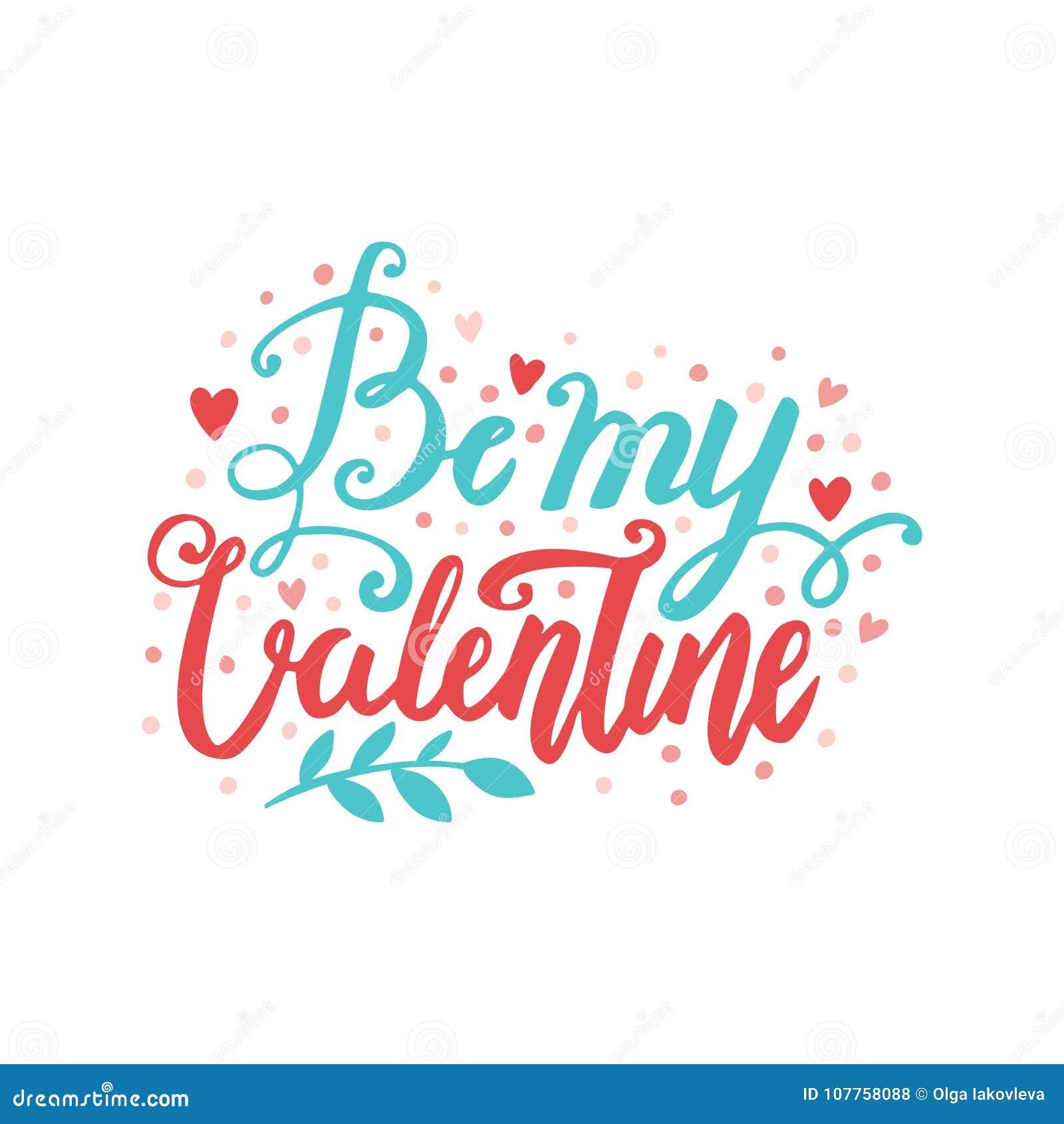 Cartolina disegnata a mano dell iscrizione della spazzola di vettore di giorno del ` s del biglietto di S. Valentino Sia la mia i