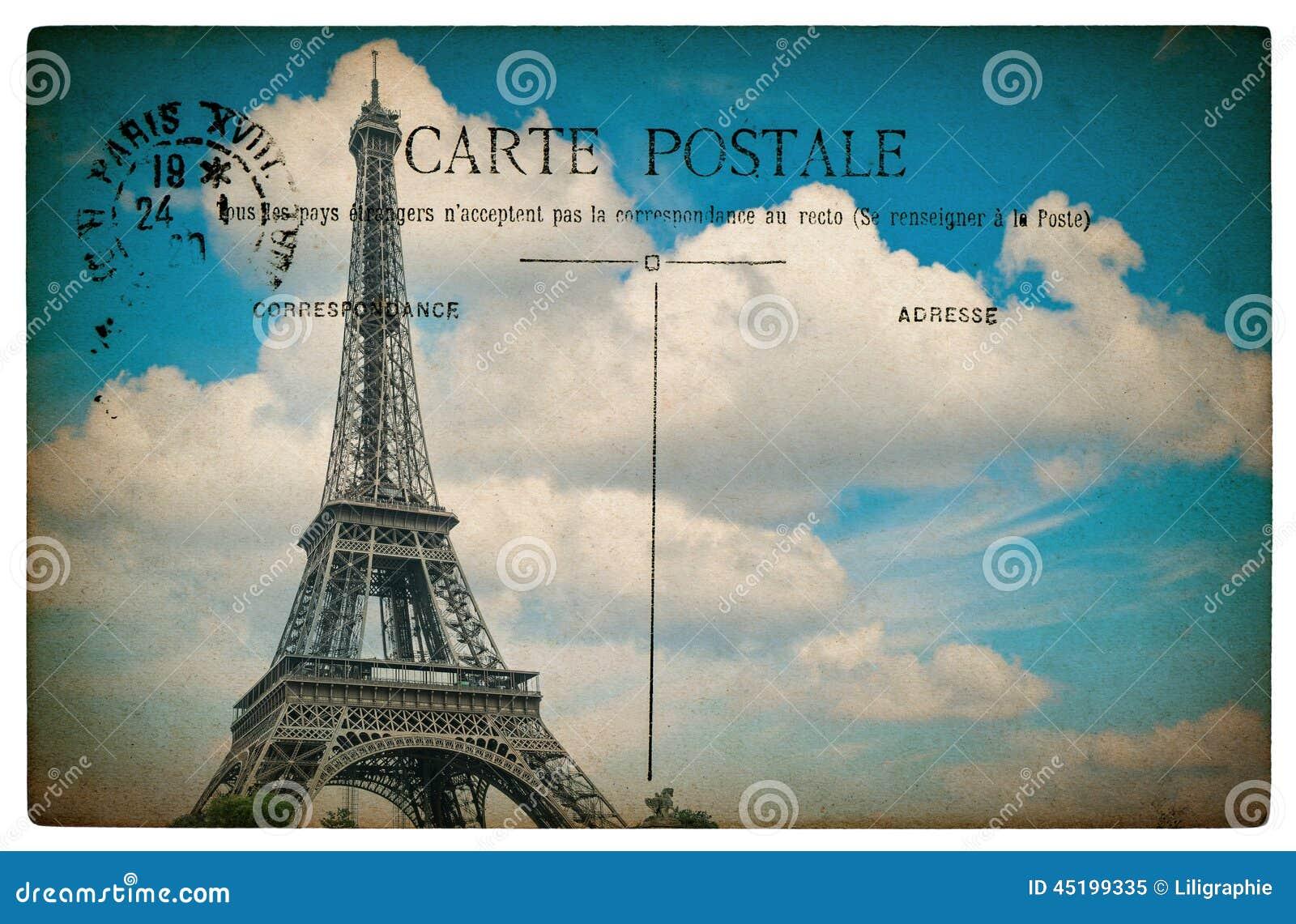 cartolina francese antica da parigi con la torre eiffel e