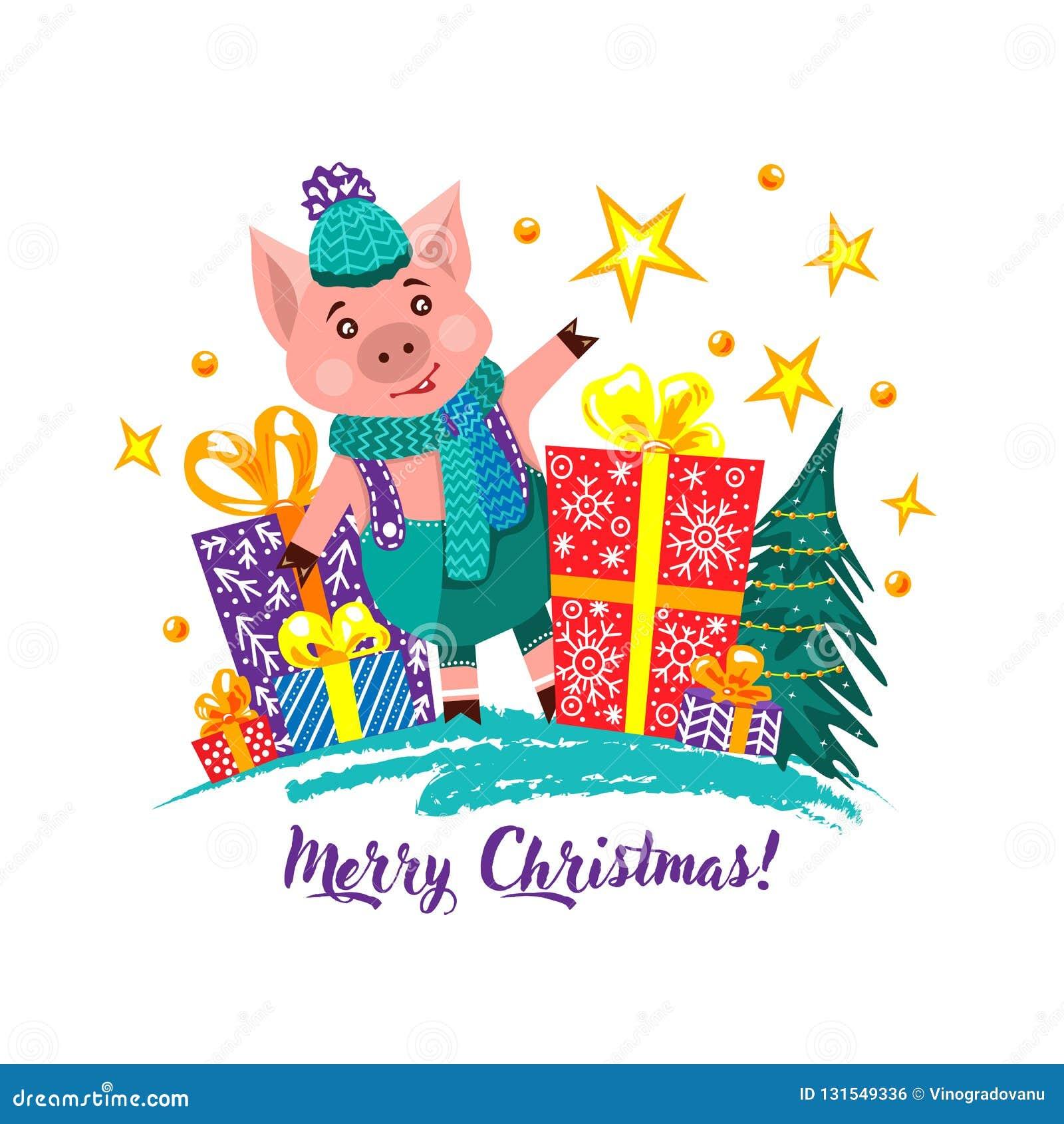 Cartoline d auguri di natale Regali di Natale e del maiale
