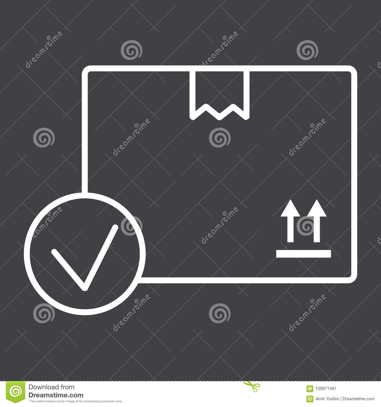 Carton Box With Check Mark Line Icon Stock Vector Illustration Of