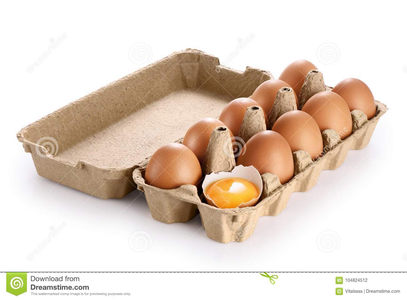 Carton Egg Box With Eggs Isolated On White Background