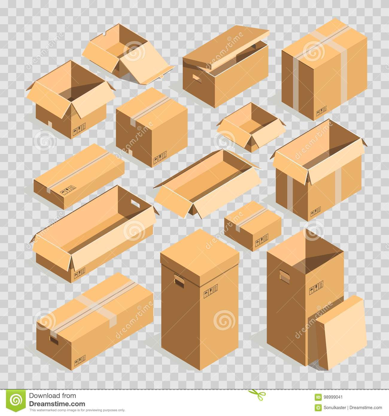 Carton Paper Box Or Cardboard Post Package Vector Templates Set ...