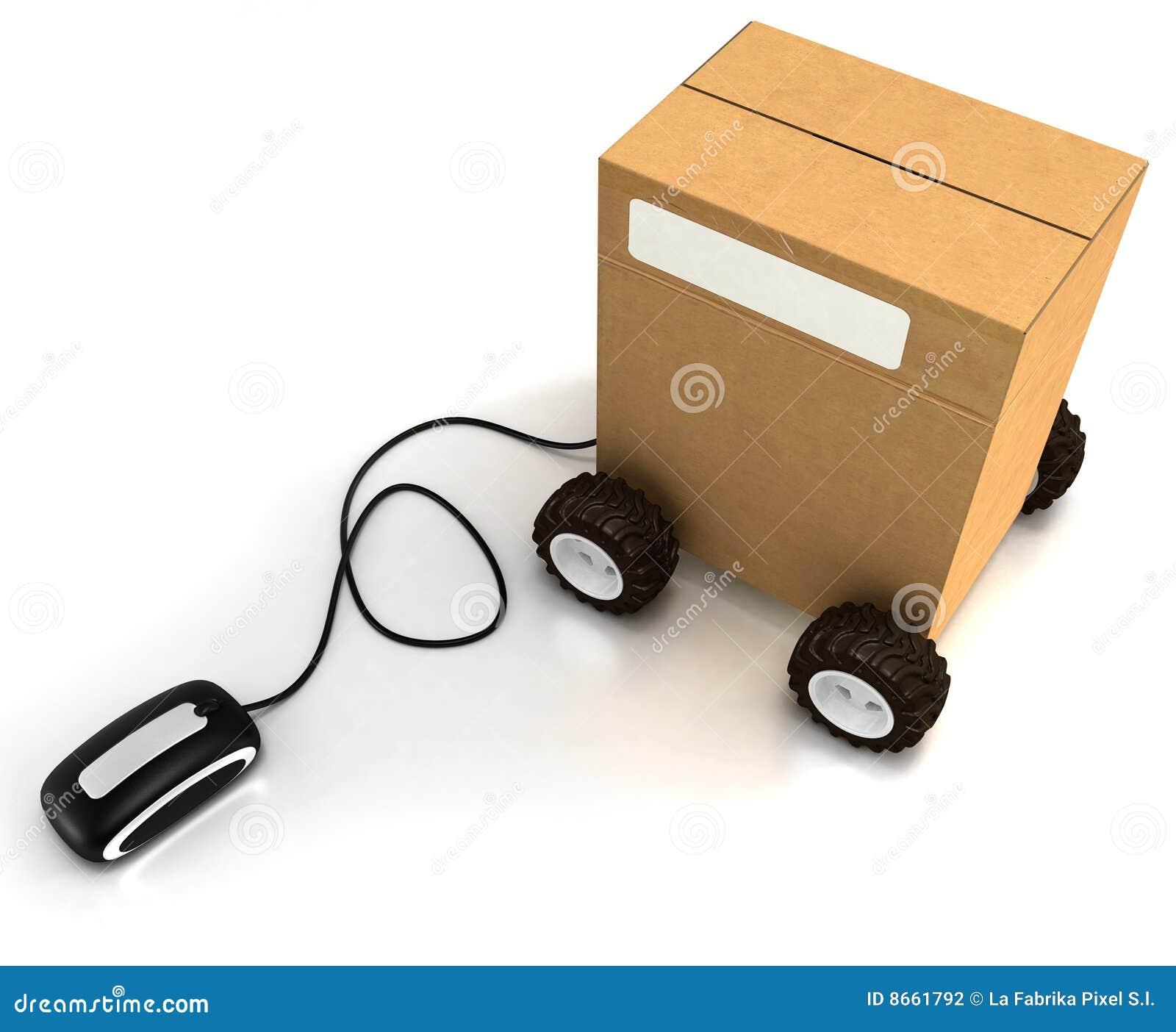 Carton sur des roues connectées à une souris