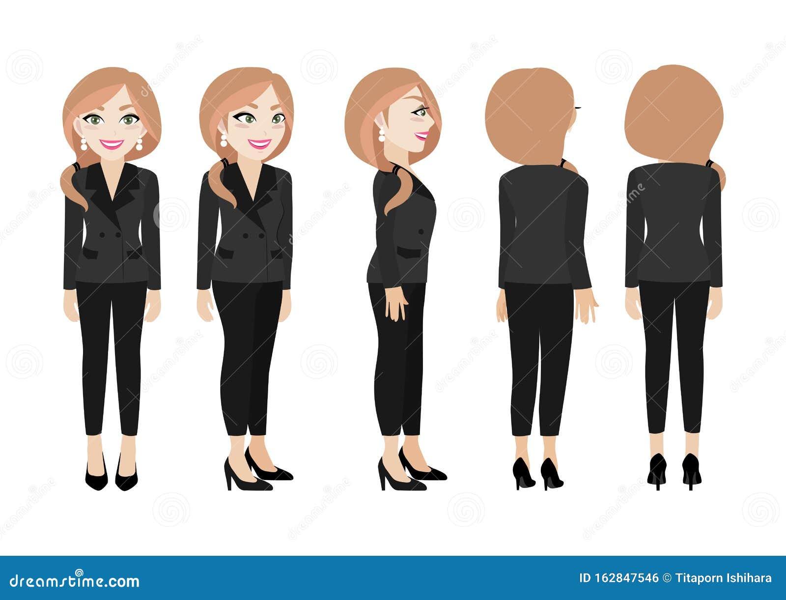 Cartone Animato Con Donna D'affari Carattere Animato Di ...