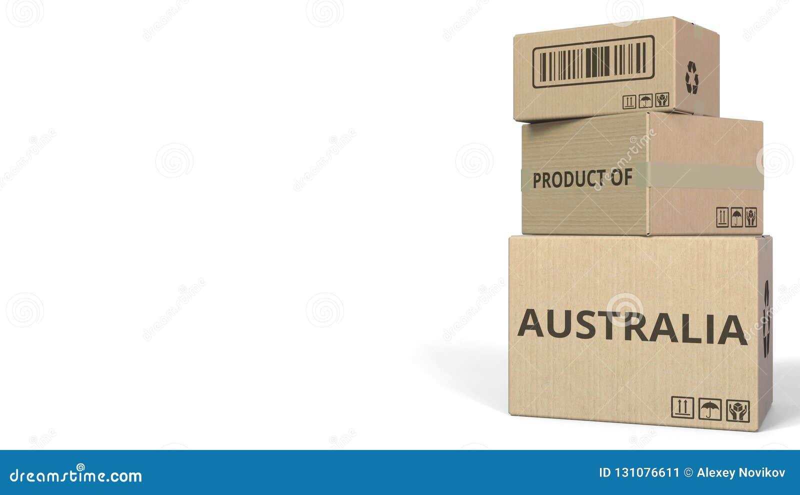 Cartons en baisse avec le PRODUIT du texte de l AUSTRALIE rendu 3d