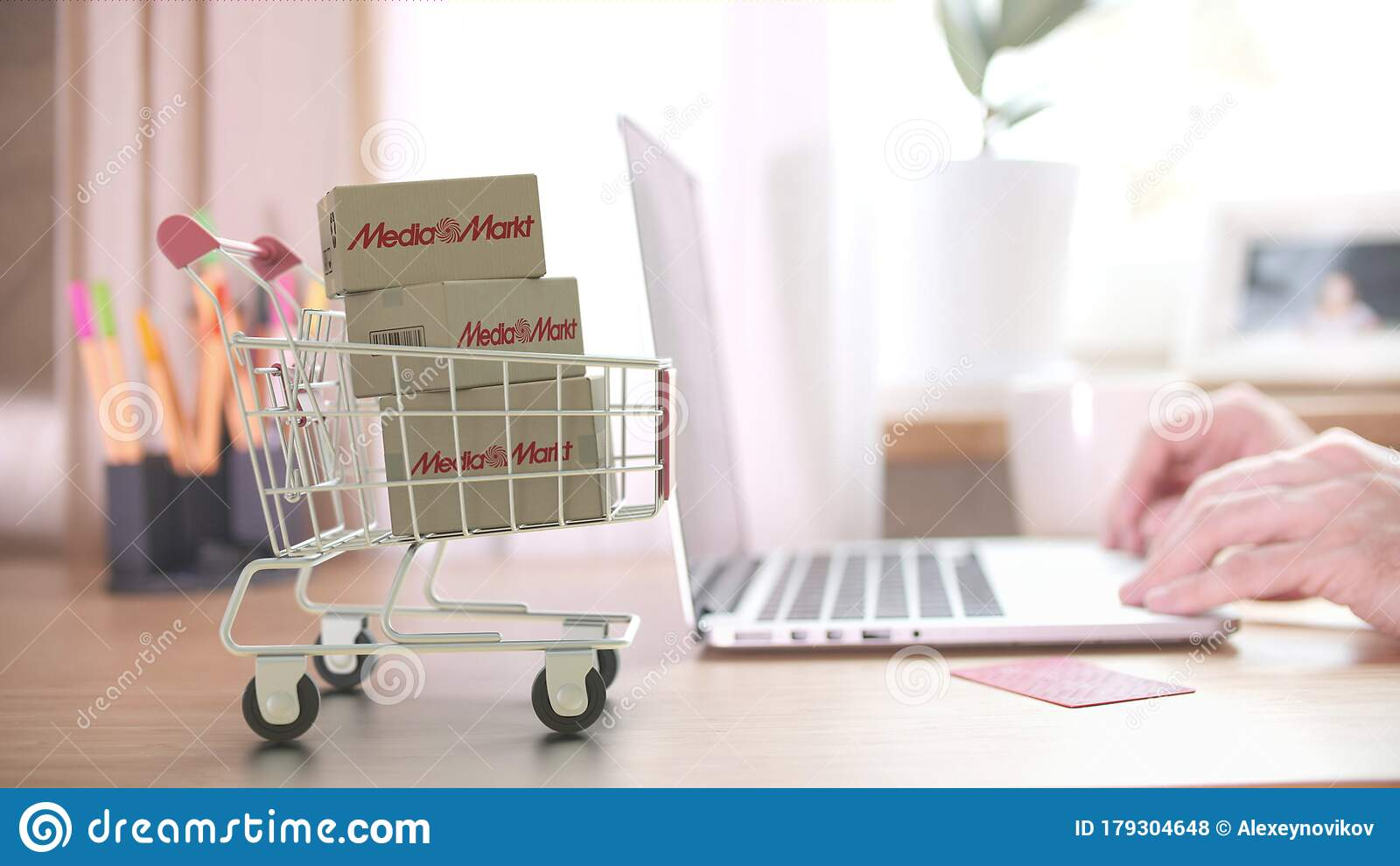 Boxes With Media Markt Logo In Shopping Cart Near Computer Editorial Online Store Order Related 3d Rendering Editorial Stock Photo Image Of Pack Commerce 179304648
