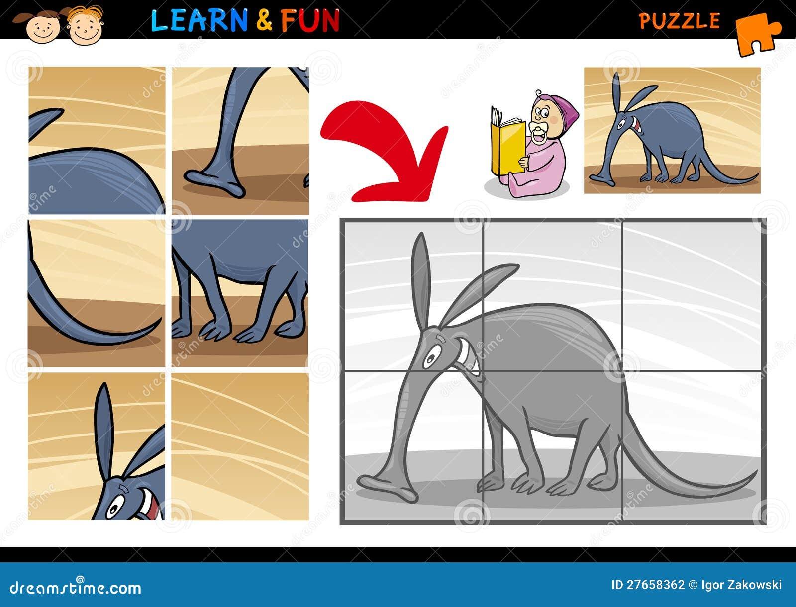 cartoon aardvark puzzle game stock vector illustration of