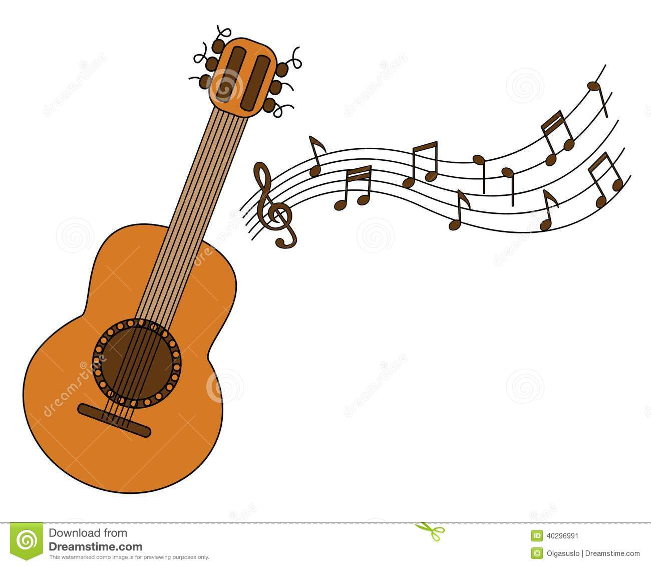 Cartoon Acoustic Guitar And Sheet Music Stock Vector Illustration