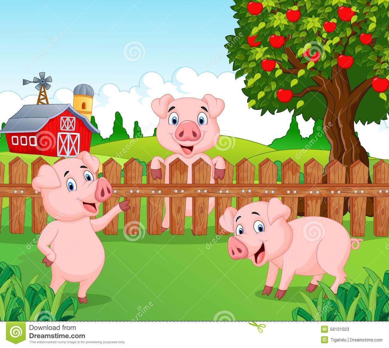 Cartoon Adorable Baby Pig On The Farm Ping Fence