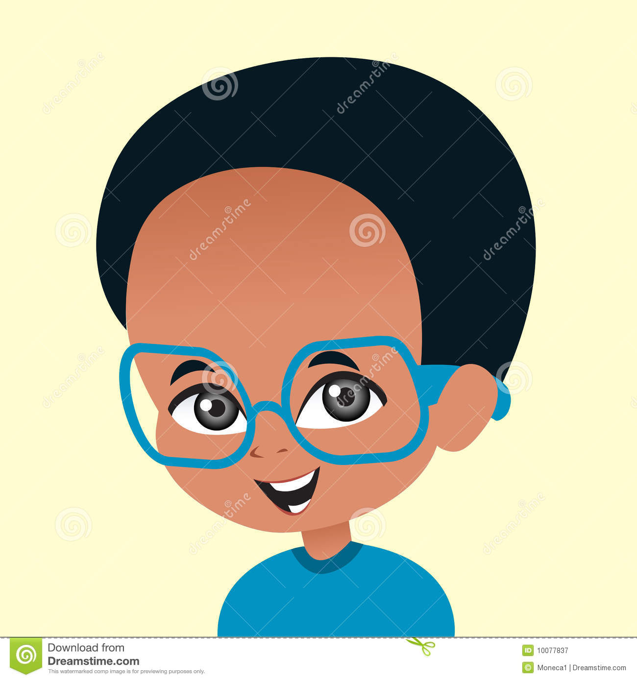 Cartoon African American Boy Wearing Glasses Stock Illustration