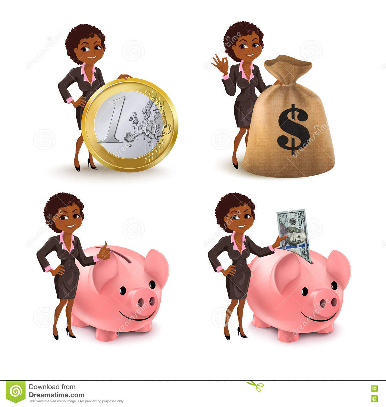 Cartoon African American Business Woman Money Set Stock Vector