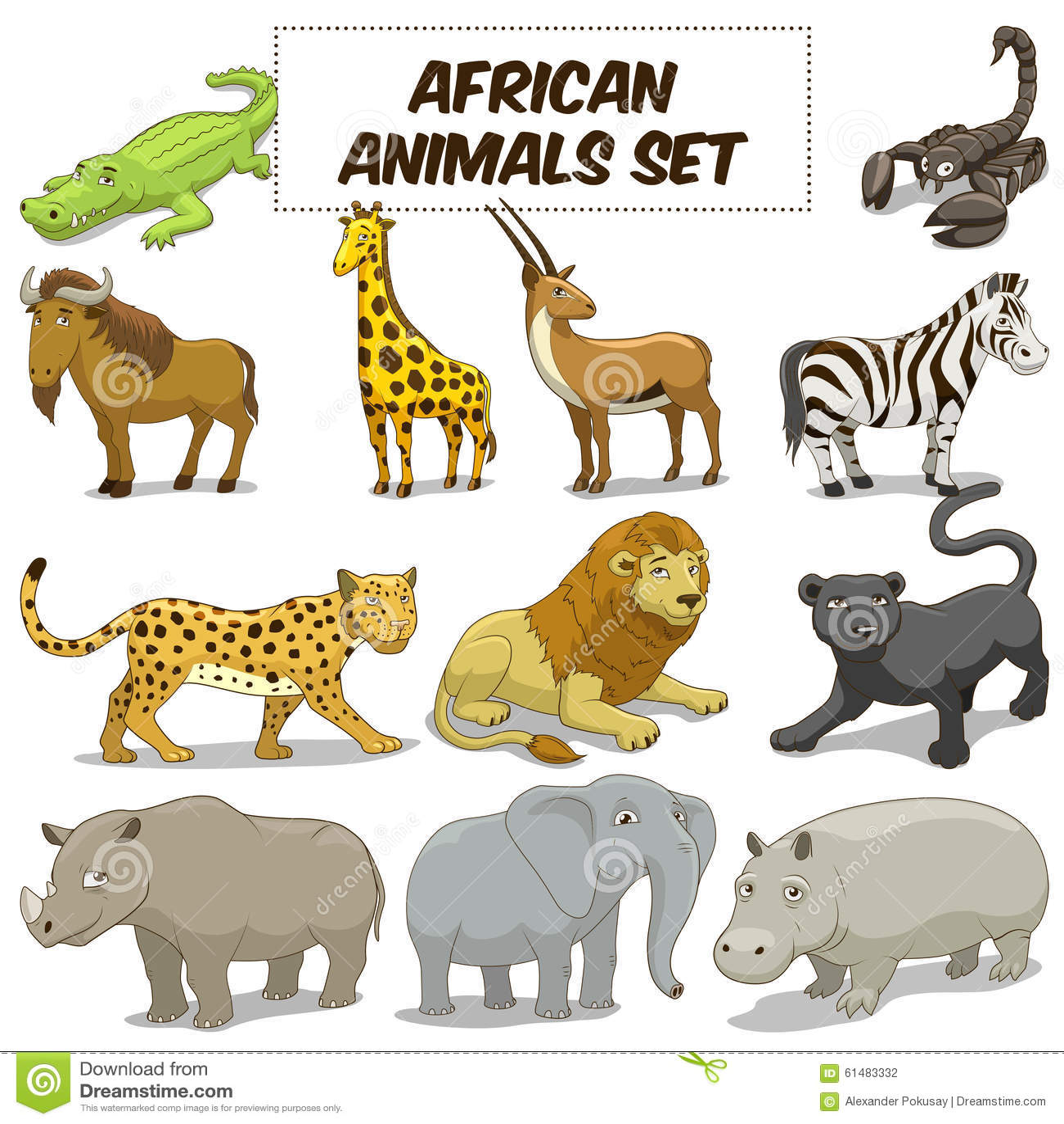 Cartoon African Savannah Animals Set Vector Stock Image 61483332