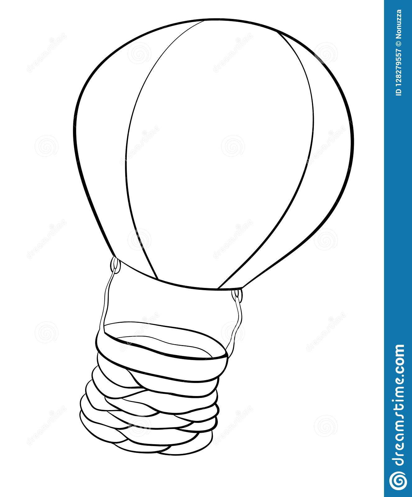 A coloring page,book an air ballon image for children.Line art style illustration.