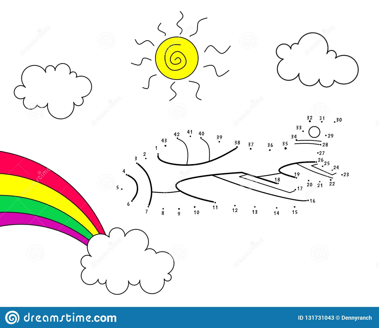 Cartoon Airplane Coloring And Dot To Dot Game Stock