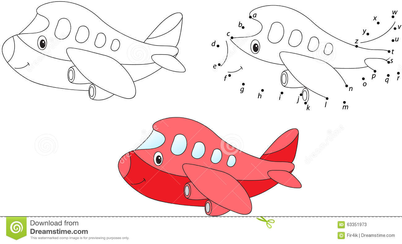 Cartoon Airplane. Vector Illustration. Coloring And Dot To Dot G ...
