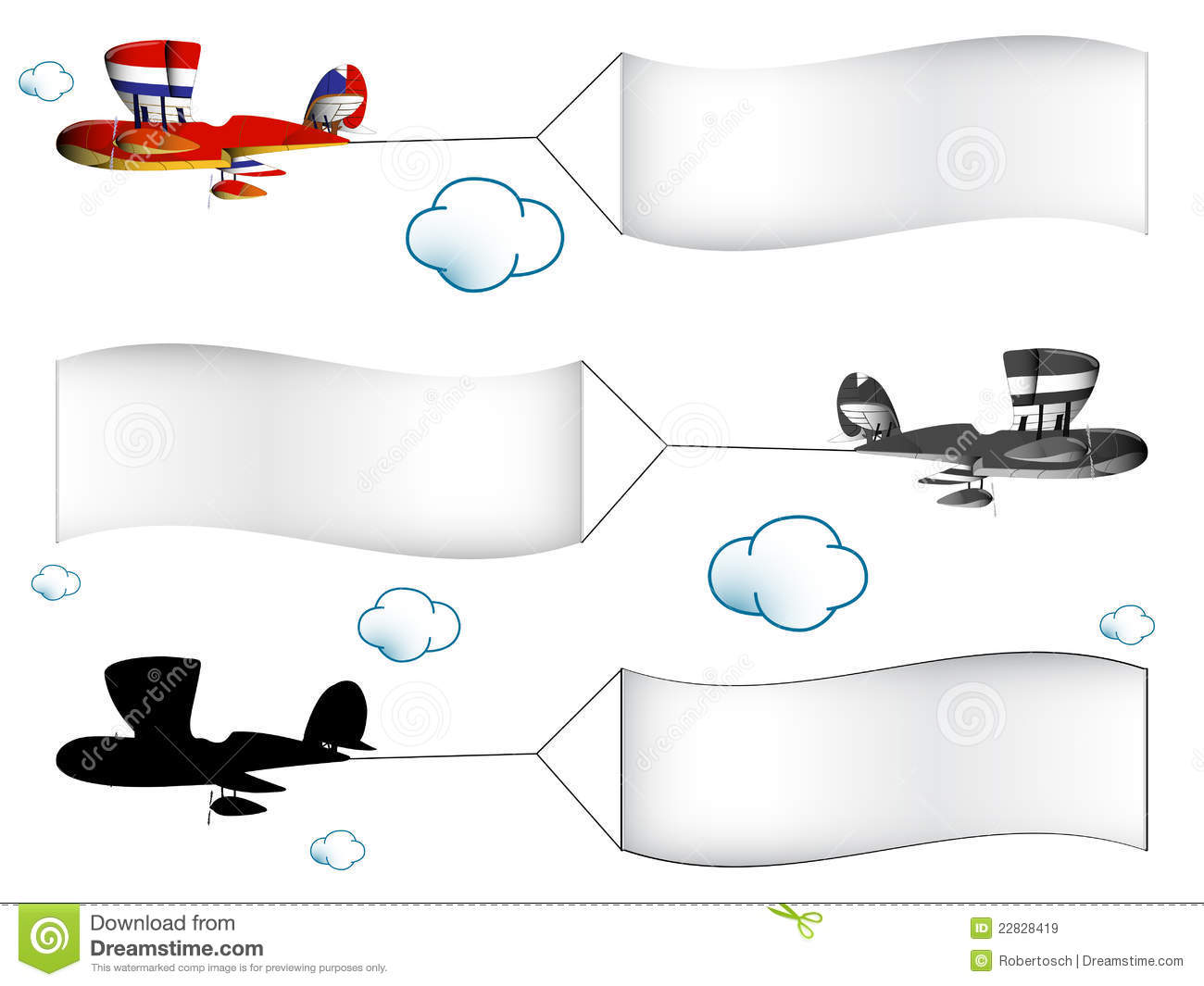 Cartoon airplanes with banners in the cloudy sky, abstract vector art ...