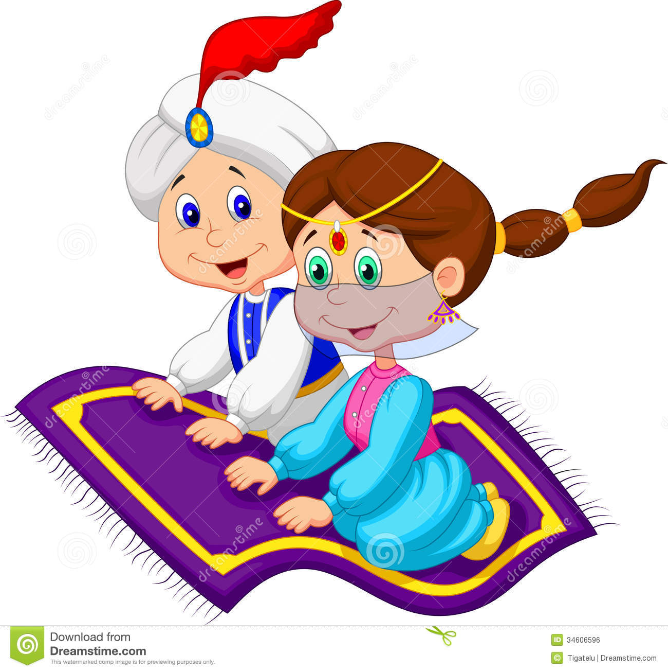 Cartoon Aladdin On A Flying Carpet Traveling Royalty Free