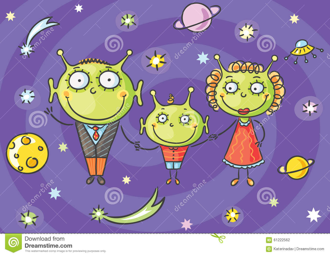 Cartoon Alien Family With A Little Son On Space Background
