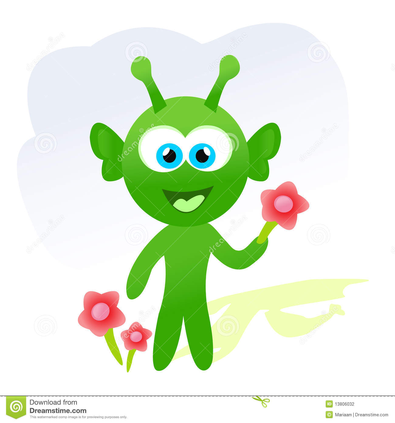 cartoon alien with flowers stock photography image 13806032