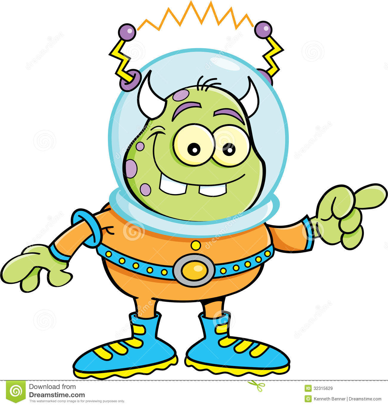 Cartoon Alien Pointing Royalty Free Stock Images - Image: 32315629