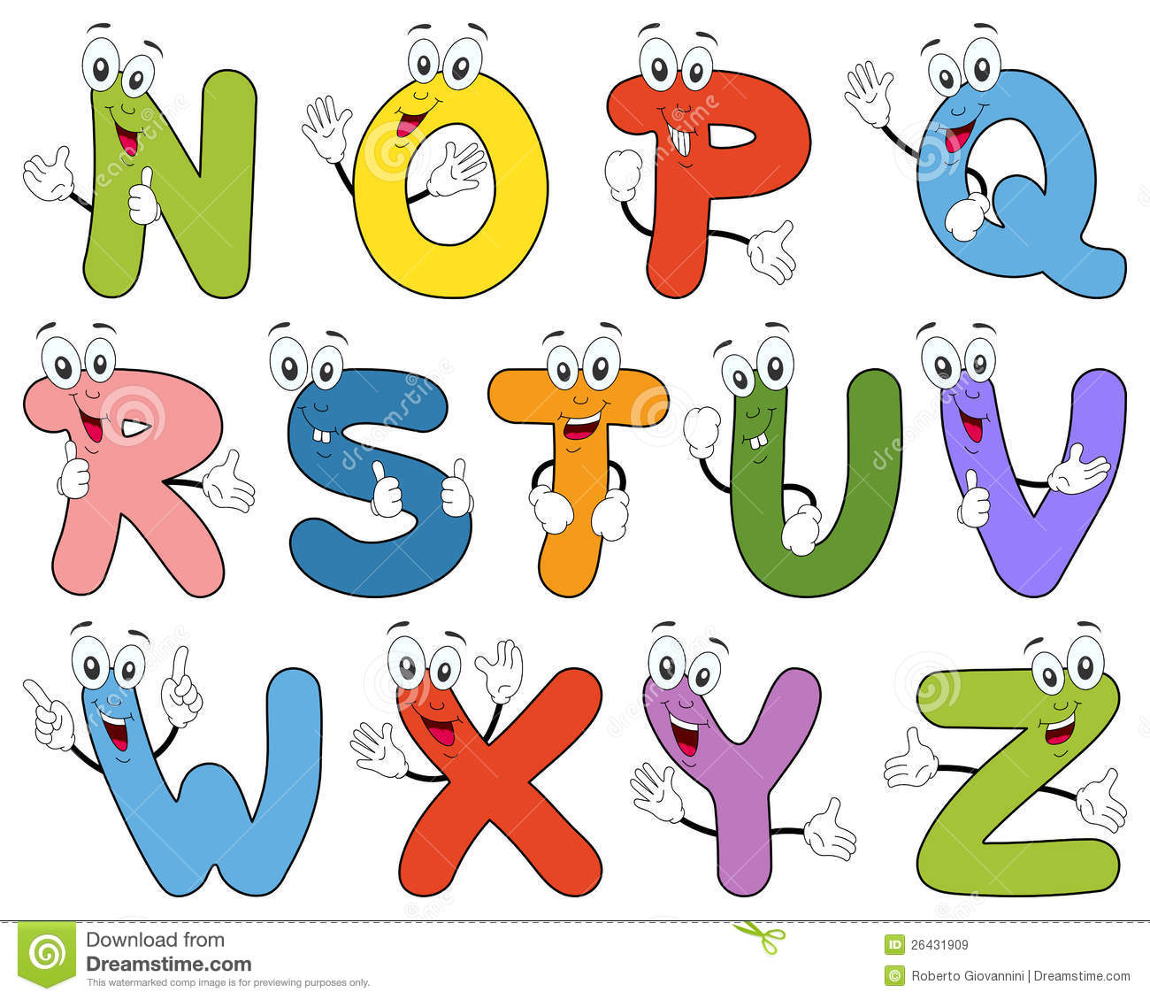 Royalty Free Stock Images Cartoon Alphabet Characters N Z Image26431909 on Letter Y Worksheets For Kindergarten