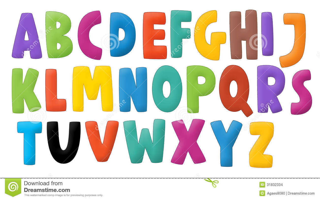 Stock Images Cartoon Alphabet Children Happy Colorful Illustration Image31832334 on Artistic Alphabet Letters