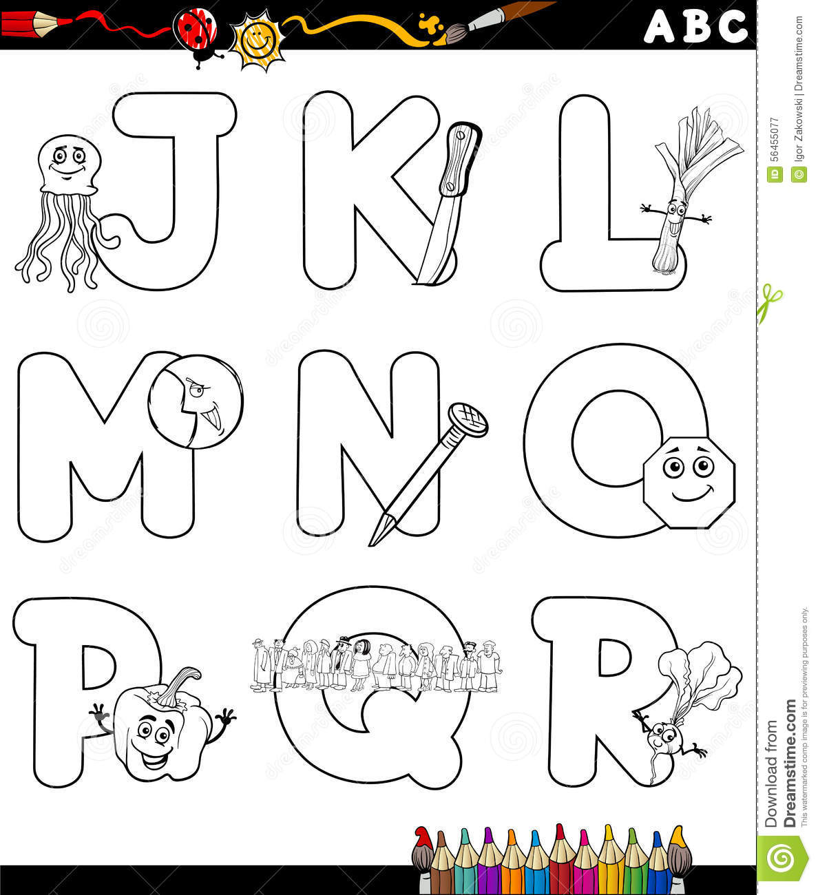 Cartoon Alphabet For Coloring Book Stock Vector