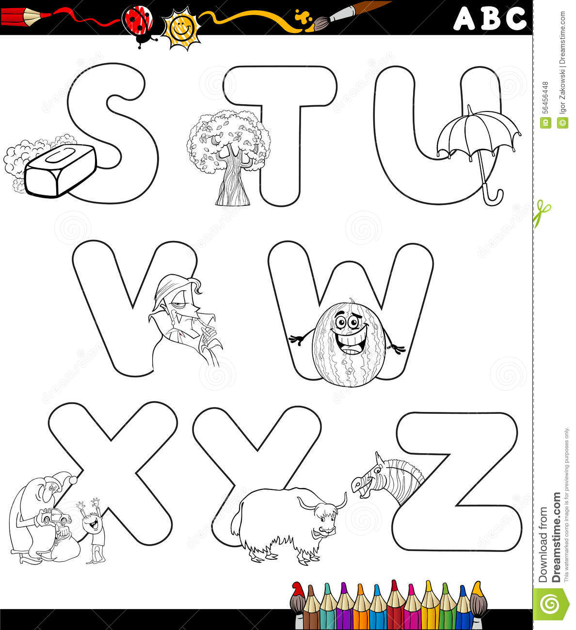 Cartoon Alphabet For Coloring Book Stock Vector - Illustration of ...
