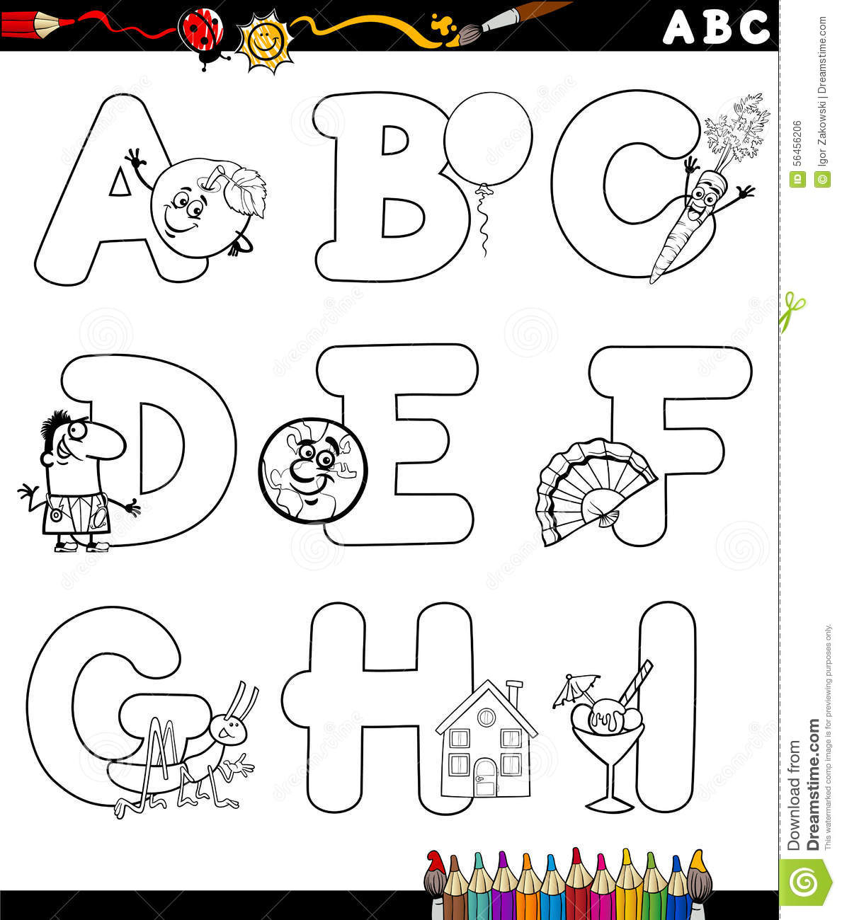 Cartoon Alphabet For Coloring Book Stock Vector Illustration Of