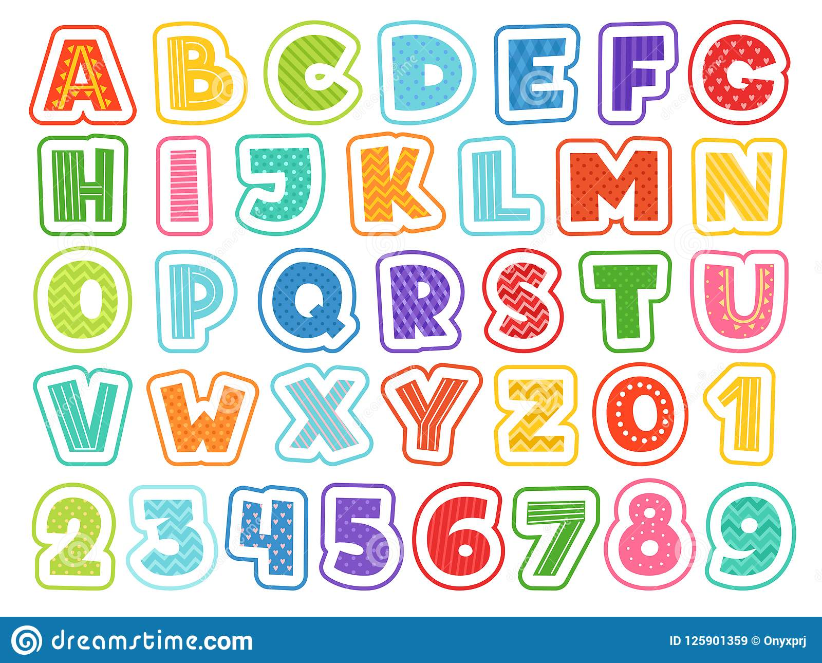 Download Cartoon Alphabet Cute Colored Letters Numbers Signs And Symbols For School Kids And Childrens