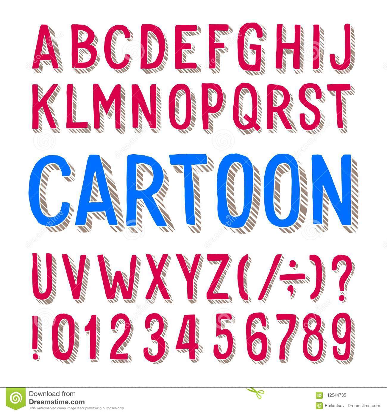 Cartoon alphabet font. Dirty letters, numbers and symbols on white background.