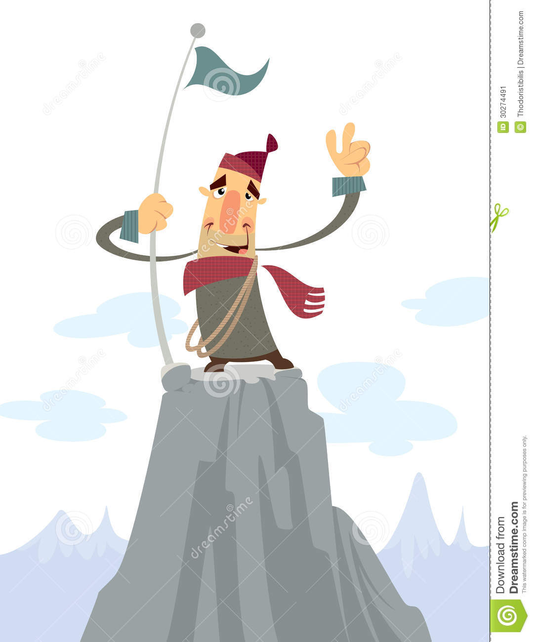 A Man On The Top Of A Mountain Stock Image - Image: 30274491