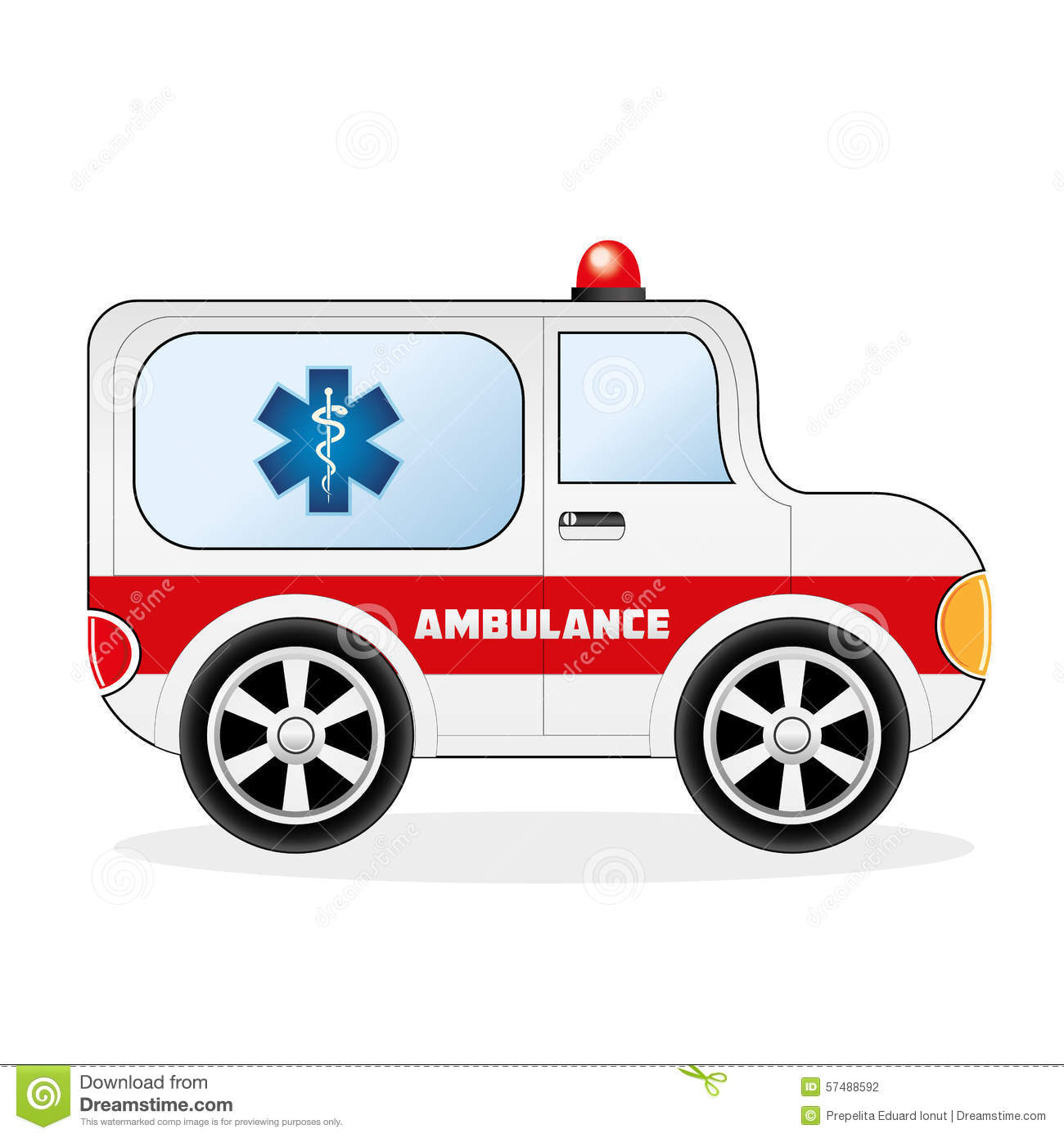 Cartoon ambulance car, isolated on white background. Eps file ...