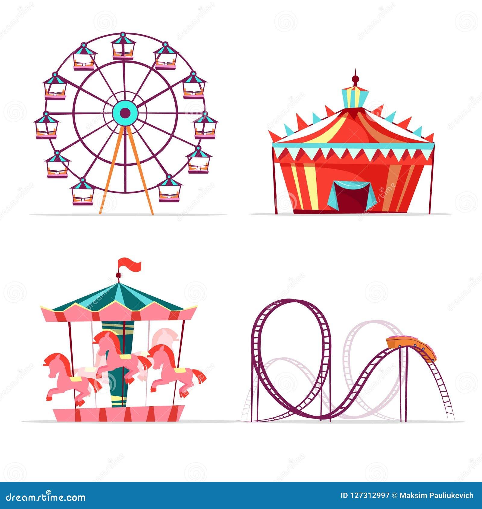 cartoon amusement park attractions set.