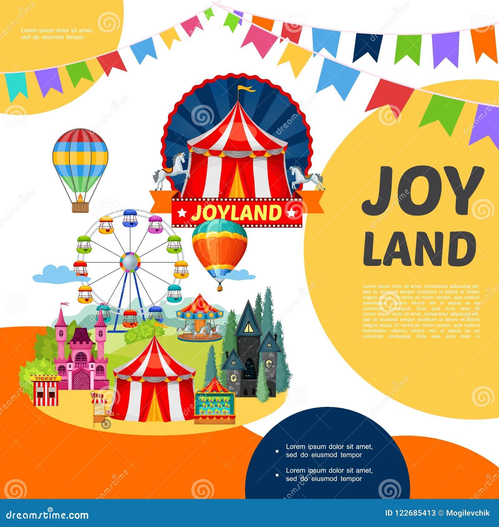 Cartoon amusement park template stock vector illustration of download cartoon amusement park template stock vector illustration of design bunting 122685413 maxwellsz
