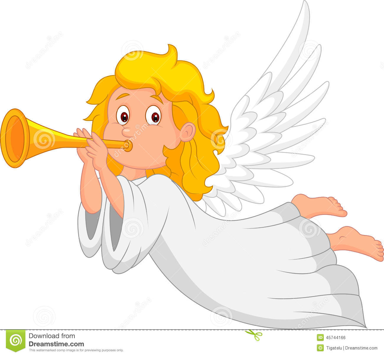 Cartoon angel with trumpet stock vector illustration of for Angel clipart