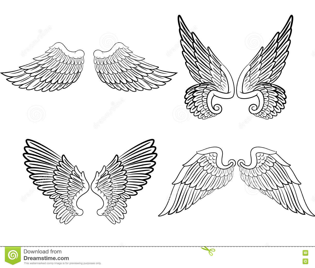 cartoon angel wings collection set stock vector illustration of rh dreamstime com angel wings cartoon pictures angel wings cartoon simple