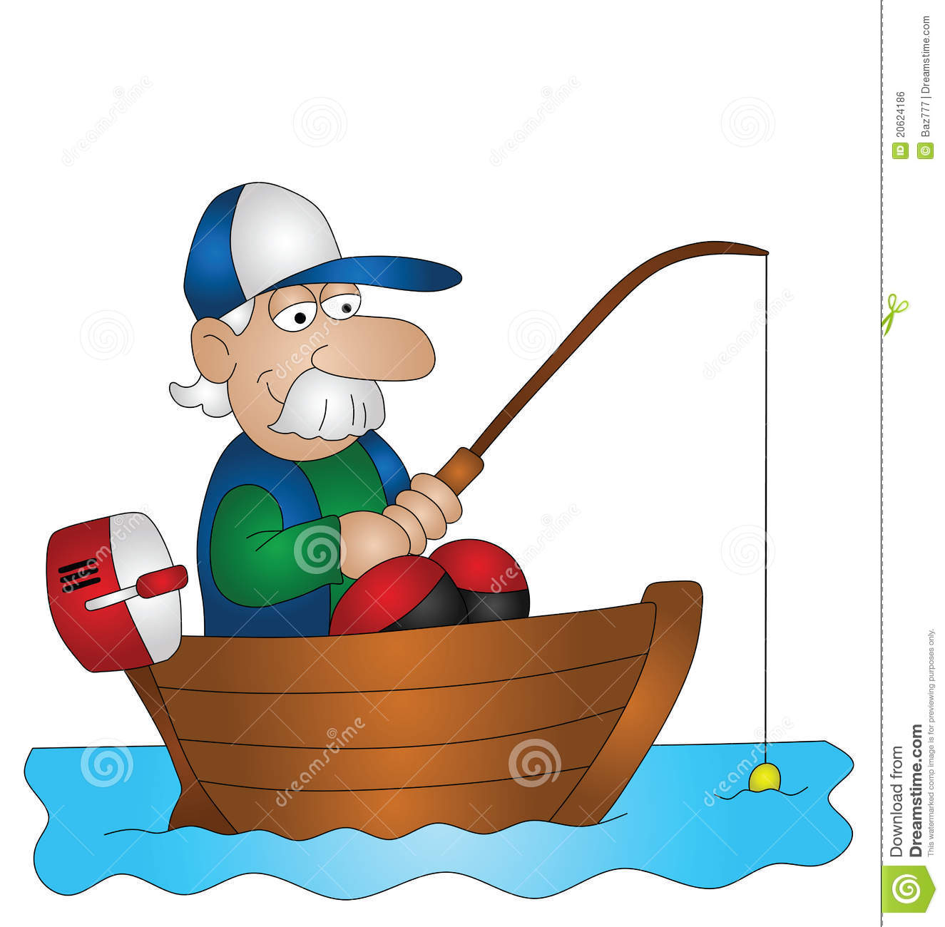 Cartoon angler fishing from boat isolated on white background.