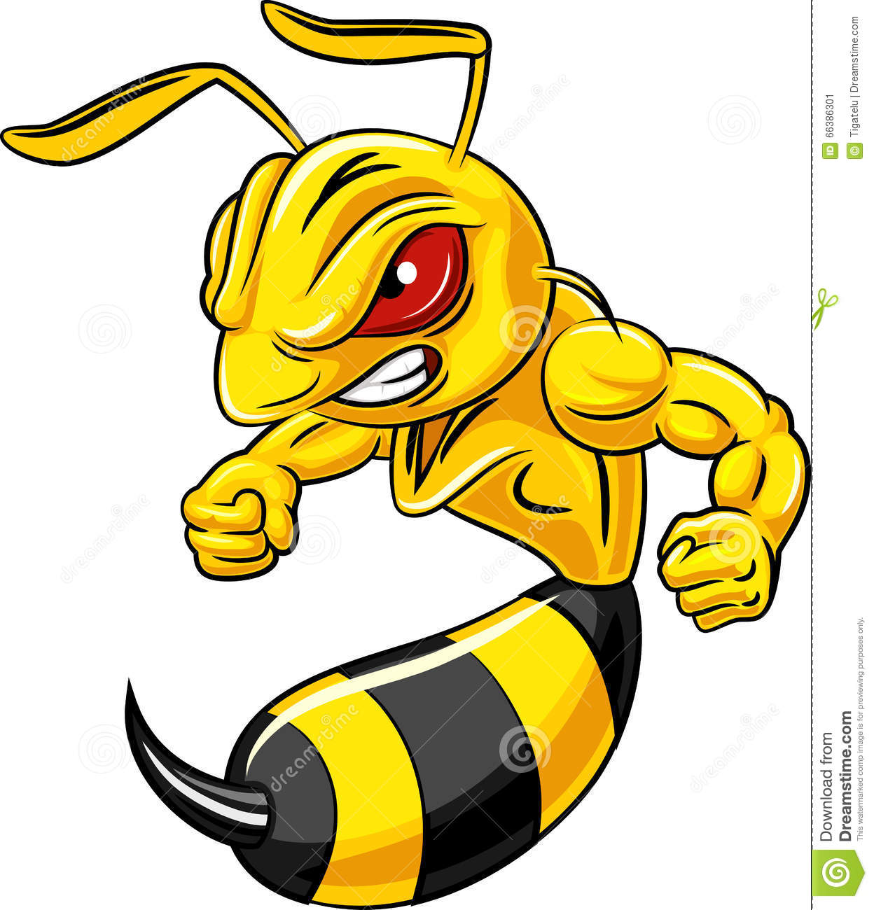 Cartoon Angry Bee Mascot Isolated On White Background Stock Vector Image 66386301