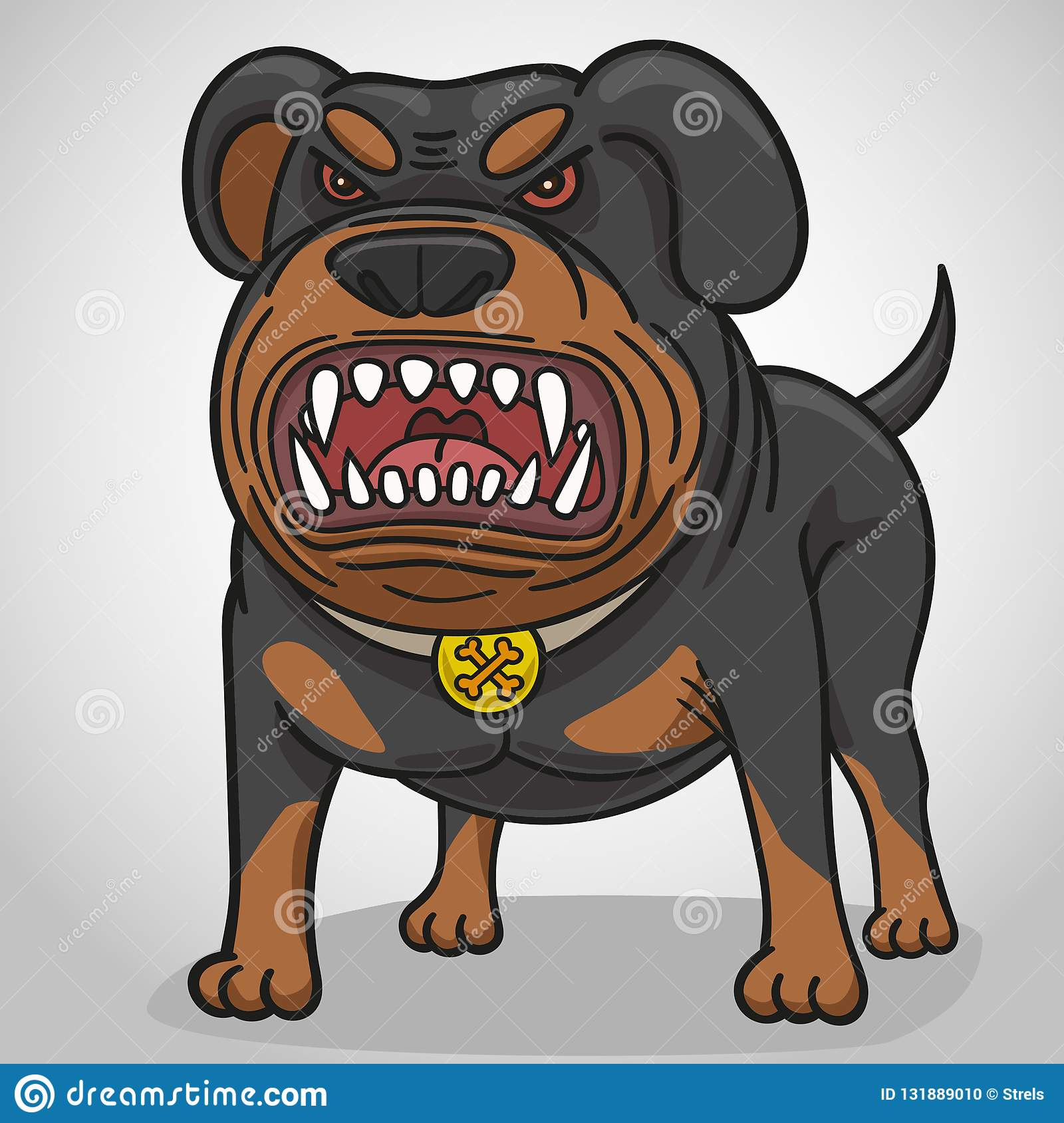 Cartoon angry dog of breed a Rottweiler.