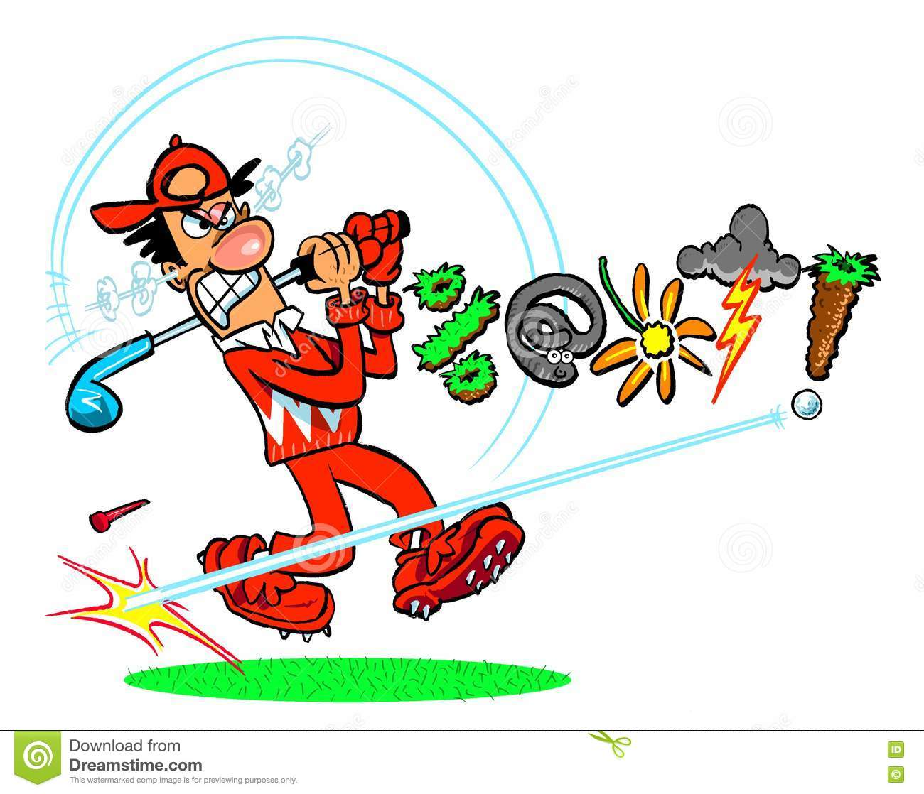 Cartoon Angry Golfer Stock Illustration Illustration Of Drawing