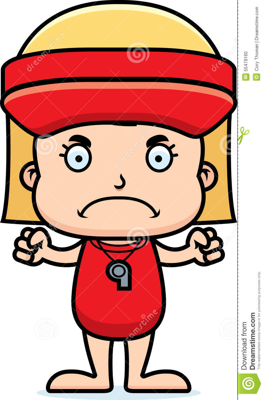 Cartoon Angry Lifeguard Girl Stock Vector - Image: 55479160