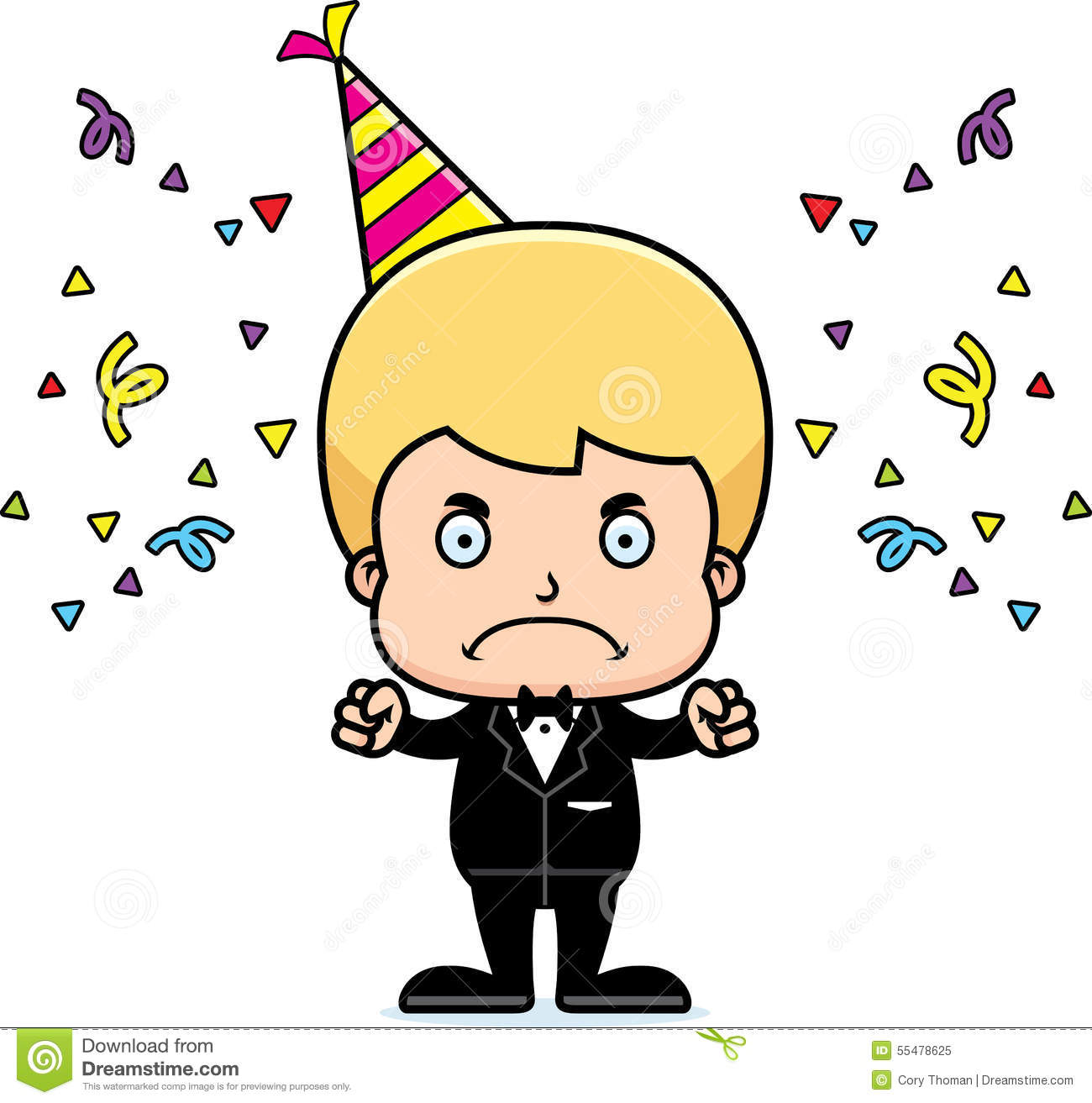 Cartoon Angry Party Boy Stock Vector - Image: 55478625